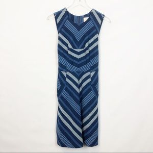 Maeve Geometric Blue A Line Cotton Dress 6